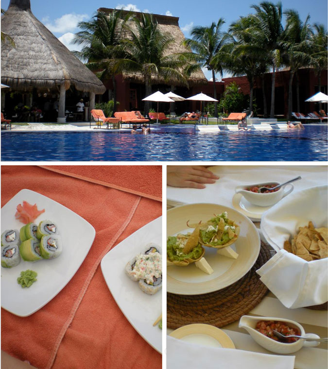 Poolside in Mexico, Zoetry Paraiso de la Bonita, sushi, guacamole, All inclusive honeymoon, boutique, top honeymoon destination, beach